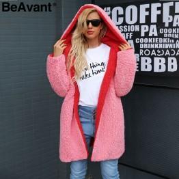 2103.12 руб. 40% СКИДКА BeAvant с капюшоном плюшевый пиджак розовая шуба для женщин, большие размеры, овечья шерсть, длинное зимнее пальто, пушистая искусственная Меховая куртка женская верхняя одежда 2018-in Искусственный мех from Женская одежда on Aliexpress.com   Alibaba Group