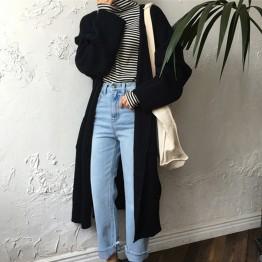 1158.27 руб. 43% СКИДКА Harajuku длинный кардиган дамы 2018 Весенняя мода длинный вязаный свитер для женщин большой Пальто Повседневное Черная куртка зимняя одежда свитер купить на AliExpress