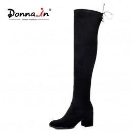 4572.43 руб. 50% СКИДКА|Donna in/женские Зимние ботфорты выше колена; женская обувь из натуральной кожи; высокие черные сапоги на высоком каблуке со шнуровкой; Bota Feminina-in Ботинки закрывающие колени from Туфли on Aliexpress.com | Alibaba Group