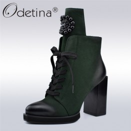 2497.58 руб. 45% СКИДКА|Odetina/осенне зимние новые модные женские ботильоны женские ботинки со шнуровкой на высоком квадратном каблуке 10 см с металлическим украшением на молнии сбоку-in Ботильоны from Туфли on Aliexpress.com | Alibaba Group