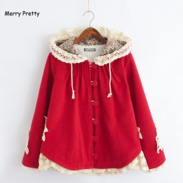 1831.54 руб. 10% СКИДКА Merry довольно новые зимние для женщин куртка Mori Girl цветок кружево лоскутное с длинным рукавом капюшоном шерсть плюс бархат теплая верхняя одежда пальт купить на AliExpress