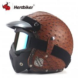 3508.35 руб. 45% СКИДКА Новый Ретро Винтаж пособия по немецкому языку стиль мотоциклетного шлема 3/4 открытым уход за кожей лица шлем для скутера Chopper Cruiser Байкер Мото шлем очки маска купить на AliExpress