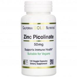 California Gold Nutrition, Пиколинат цинка, 50мг, 120 растительных капсул