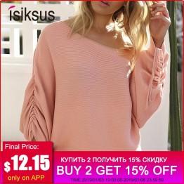 1025.97 руб. 43% СКИДКА|Isiksus розовый с открытыми плечами вязаный свитер для женщин зимние свободные свитера длинным рукавом Женский вязаный пуловер s 2018 SW005 купить на AliExpress