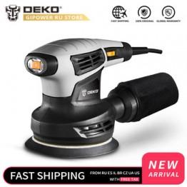 DEKO QD6206R 280W случайная орбитальная шлифовальная машина для дерева, работающая с 15 листами наждачной бумаги, пыли и гибридной пыли канистра