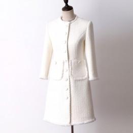6367.95 руб. 31% СКИДКА|Белая шерстяная твидовая куртка в длинном разрезе осенне зимнего женского пальто, новая тонкая женская куртка с рукавом в семь точек купить на AliExpress