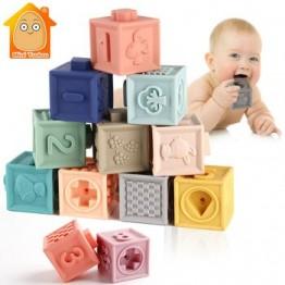 Детские мягкие игрушки сенсорные силиконовые развивающие строительные блоки 3D Висячие шарики для малышей резиновые Прорезыватели для зуб...