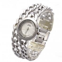 801.98 руб. 9% СКИДКА|G & D женские часы с двойной цепочкой из нержавеющей стали, женские серебряные часы со стразами, роскошные модные кварцевые наручные часы, сегодня предложение-in Женские часы from Ручные часы on Aliexpress.com | Alibaba Group