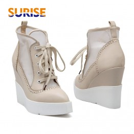US $31.93 49% OFF|Summer High Heels Wedge Platform Women Short Boots PU Leather Mesh Pointed Toe Casual Party Punk Rivet Zipper Ladies Ankle Boots-in Ankle Boots from Shoes on Aliexpress.com | Alibaba Group