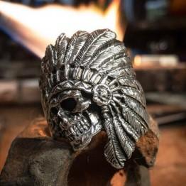 EYHIMD Винтаж американский туземный череп кольцо Мужские племя воин нержавеющая сталь байкер кольца индийские ювелирные изделия