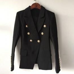 Топ качество новая мода 2020 дизайнерский пиджак женский двубортный пиджак с металлическими кнопками в форме льва внешний размер S-XXXL