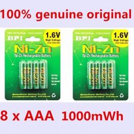 631.78 руб. 5% СКИДКА|8 шт./лот Оригинальный Новый BPI AAA 1000mWh 1,6 В 1,5 В NI Zn NI Zn NIZN aaa низкий саморазряд аккумуляторная батарея 1,5 В купить на AliExpress