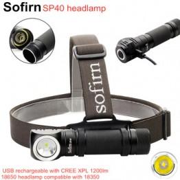Sofirn SP40 светодиодный налобный фонарь Cree XPL 1200lm 18650 USB перезаряжаемая фара 18350 фонарик с индикатором мощности магнитный хвост