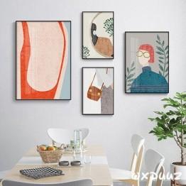 Семейный современный стиль, европейский стиль, декоративная живопись, простой стиль, рисунок карандаша, девушка, украшение стены, плакат o20