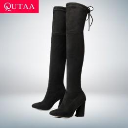 1902.89 руб. 48% СКИДКА|QUTAA/2020 г. новые женские ботфорты из флока пикантная Осенняя женская обувь на высоком каблуке со шнуровкой зимние женские сапоги размер 34 43-in Ботинки закрывающие колени from Туфли on Aliexpress.com | Alibaba Group