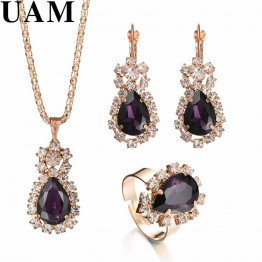 US $1.47 49% OFF|Fashion Wedding Gift Jewelry Gold Color Water Drop Shape Crystal Earrings Necklace Adjustable Rings Set Women Jewelry Sets-in Bridal Jewelry Sets from Jewelry & Accessories on Aliexpress.com | Alibaba Group