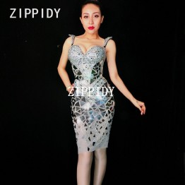 US $91.08 8% OFF|Glisten Silver Mirrors Crystals Dress Women's Birthday Celebrate Female Singer Costume Big Stones Wear Sexy Perspective Dresses-in Dresses from Women's Clothing on Aliexpress.com | Alibaba Group