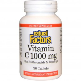 Natural Factors, Vitamin C, Plus Bioflavonoids & Rosehips, 1,000 mg, 90 Tablets