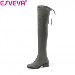 1892.75 руб. 48% СКИДКА|ESVEVA/2020 г. женские ботинки пикантные сапоги на шнуровке сапоги выше колена модные зимние сапоги на среднем каблуке с квадратным носком размер 34 43-in Ботильоны from Туфли on Aliexpress.com | Alibaba Group