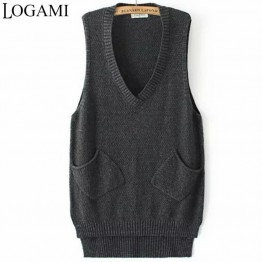 US $10.87 32% OFF|LOGAMI V Neck Long Vest Knitted Women Sweaters And Pullovers Woman Sleeveless Casual Pocket Sweater Pull Femme-in Vests from Women's Clothing on Aliexpress.com | Alibaba Group