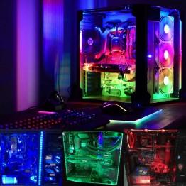 251.8 руб. 52% СКИДКА|Coolo 50/100/150/200 см RGB Светодиодные полосы света компьютерный корпус для ПК декоративное люминесцентное освещение, питания sata, радиочастотный контроллер-in Светодиодные ленты from Лампы и освещение on Aliexpress.com | Alibaba Group