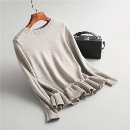 2168.87 руб. 45% СКИДКА|INNASOFAN свитер для женщин осень зима вязаный свитер Евро американский модный свитер с длинными рукавами и воланами-in Пуловеры from Женская одежда on Aliexpress.com | Alibaba Group