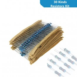 117.03 руб. 5% СКИДКА|30 видов 1/4 Вт Сопротивление 1% металлического пленочного резистора пакет Ассорти комплект 1 10 K 100 K 220ohm 1 м резисторов для школьного лаборатории