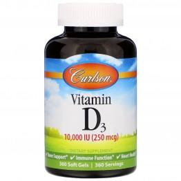 Carlson Labs, Vitamin D3, 10,000 IU (250 mcg), 360 Soft Gels