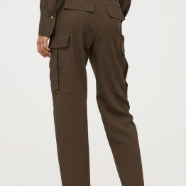 Wool-blend Utility Pants - Dark khaki green - Ladies   H&M CA