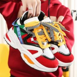 Женские кроссовки на толстой подошве, повседневная обувь на платформе, увеличивающая рост
