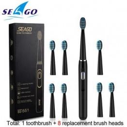 Электрическая зубная щетка Seago Sonic, перезаряжаемая, с 3 сменными насадками, 2 минуты, таймер и 4 режима чистки, водонепроницаемая, SG551