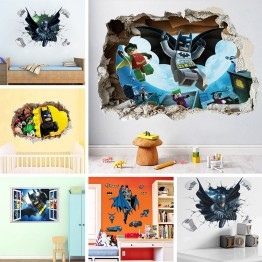 US $3.44 20% OFF|Batman Super Heros Broken Window Lego Wall Stickers For Nursery Kids Room Decoration Movie 3D Mural PVC Cartoon Decorative Decal-in Wall Stickers from Home & Garden on Aliexpress.com | Alibaba Group