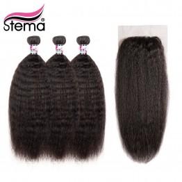7719.71 руб. 50% СКИДКА Stema бразильские кудрявые прямые натуральные волосы пучки с закрытием 3 шт. волосы ткет с 1 шт. кружева закрытия 4x4 remy наращивание волос купить на AliExpress