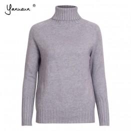 890.17 руб. 40% СКИДКА|Yanueun осень зима новые женские свитера и пуловеры базовые модные вязаные свитера с высоким воротом джемперы с длинными рукавами-in Пуловеры from Женская одежда on Aliexpress.com | Alibaba Group