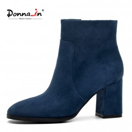 US $49.04 59% OFF|DONNA IN Genuine Leather Women Boots Natural Suede Leather Ankle Boots for Women Fashion Square Toe Thick High Heel Ladies Shoes-in Ankle Boots from Shoes on Aliexpress.com | Alibaba Group