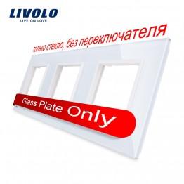 866.57 руб. 11% СКИДКА|Livolo Роскошный белый жемчуг Кристалл Стекло, стандарт ЕС, тройной стекло панель для настенного выключателя и розетки, C7 3SR 11 (4 цвета) купить на AliExpress