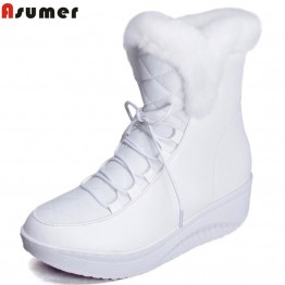 1660.41 руб. 48% СКИДКА|Asumer/Лидер продаж; женская обувь; однотонные мягкие милые женские зимние ботинки на плоской подошве с круглым носком; Зимние ботильоны на меху купить на AliExpress