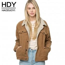 € 20.95 49% de DESCUENTO HDY Haoduoyi invierno Casual de pana marrón de manga larga de cuello vuelto chaqueta simple Breasted básico mujeres abrigo caliente-in chaquetas básicas from Ropa de mujer on Aliexpress.com   Alibaba Group