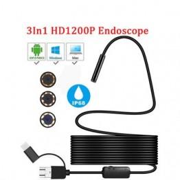 Мини камера эндоскоп HD 1200P IP68 2 м Жесткая гибкая трубка Mirco USB Type-C бороскоп видео осмотр для Android автомобильный эндоскоп