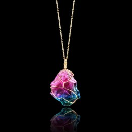 US $2.07 39% OFF|OTOKY Necklace Rainbow Stone Natural Crystal  Rock Necklace Gold Quartz Pendant Jewelry necklace Colar jan08                    -in Pendant Necklaces from Jewelry & Accessories on Aliexpress.com | Alibaba Group