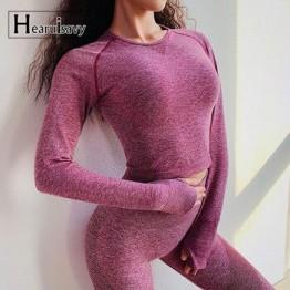 2018 Новый сетчатый топ с длинными рукавами, бесшовный топ для йоги с отверстием для большого пальца, Спортивная рубашка для женщин, топ для фи...