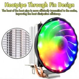 Светодиодный RGB Процессор кулер 4pin 2 Медь теплопроводов холодильник тихий охлаждающий вентилятор охлаждения радиатора для Intel разъем LGA 1156/...