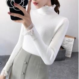 Женский свитер с длинным рукавом, вязаный эластичный Однотонный свитер с длинным рукавом на осень и зиму 2018