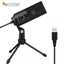 Конденсаторный микрофон Fifine, металлический студийный микрофон с USB для ноутбука, MAC, Windows, запись голоса, YouTube