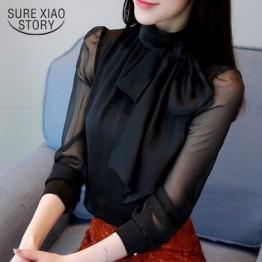 2019 Новая летняя модная туника женская блузка длинный рубашки рукав галстук бабочка шифон водолазка Формальные женские белые черные рубашк...
