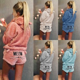 US $14.03 64% OFF|Women Coral Velvet Suit Two Piece Autumn Winter Pajamas Warm Sleepwear Cute Cat Meow Pattern Hoodies Shorts Set 2018 New-in Hoodies & Sweatshirts from Women's Clothing on Aliexpress.com | Alibaba Group