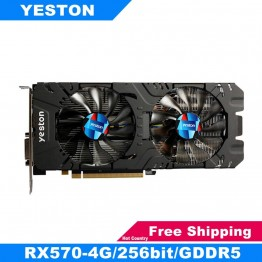 Yeston RX570 256bit Графика карты GDDR5 PCI Express 3,0 игровая настольный компьютер PC Видео Графика карты Поддержка DVI D HDMI DP купить на AliExpress