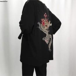 2019 nuevo de kimono de lino de chaquetas de los hombres de algodón étnico ropa chaquetas cereza dragón bordado gasa de protección solar ropa de las mujeres en Chaquetas de La ropa de los hombres en AliExpress.com | Alibaba Group