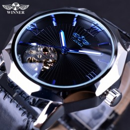 US $16.99 |Winner Blue Ocean Geometry Design Transparent Skeleton Dial Mens Watch Top Brand Luxury Automatic Fashion Mechanical Watch Clock-in Mechanical Watches from Watches on Aliexpress.com | Alibaba Group