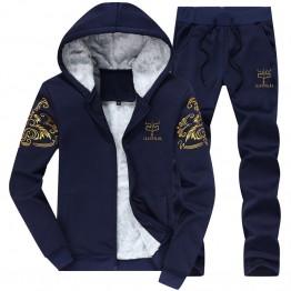 1366.7 руб. 45% СКИДКА|Зимние для мужчин утепленные Костюм со свитером Дизайнер печати мужской толстовки флис трикотаж костюм Спортивная одежда костюмы для отдыха 4XL BFDY7 купить на AliExpress